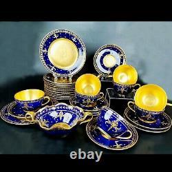 Antique Limoges France Hand-painted Cobalt Blue Tea/coffee Set of 29-pieces 1928
