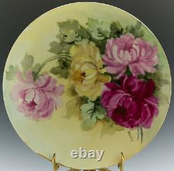 Antique Limoges Hand Painted Chrysanthemums Plate