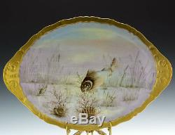Antique Limoges Hand Painted Fish Shells Set Platter Plates