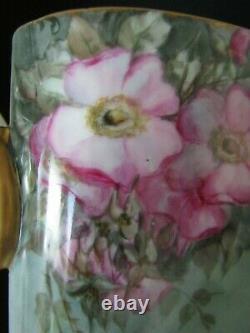 Antique Limoges Hand Painted Florals Cache Pot Vase
