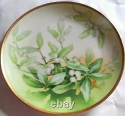 Antique Limoges Hand Painted Mistletoe & Green Leaves Porcelain Cabinet Plate