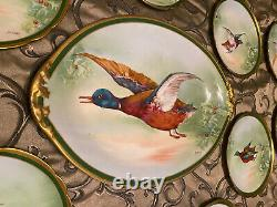Antique Limoges Hand Painted Platter & 11 Plates Dinner Set Birds Game 1908-1914