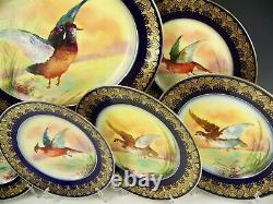 Antique Limoges Hand Painted Platter 12 Plates Birds Game Gold Gild Dinner Set