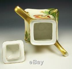 Antique Limoges Hand Painted Poppy Gold Gilt Tea Pot