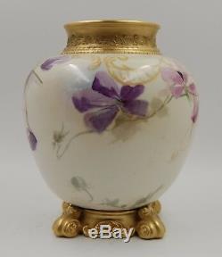 Antique Limoges Hand Painted Porcelain Floral Jardiniere Vase