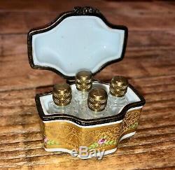 Antique Limoges Hand Painted Porcelain Perfume Scent Trinket Box