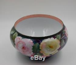 Antique Limoges Hand Painted Porcelain Roses Jardiniere Vase