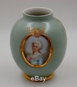 Antique Limoges Hand Painted Portrait Medallion Vase