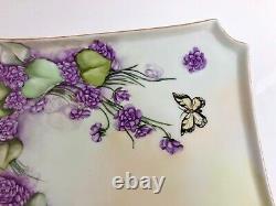 Antique Limoges Hand Painted Purple Floral Vanity Dresser Tray Set 7 Pieces
