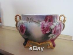 Antique Limoges Hand Painted Roses Jardiniere Signed 1905