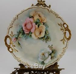Antique Limoges Hand Painted Roses Tray, Plaque Charger. Wow