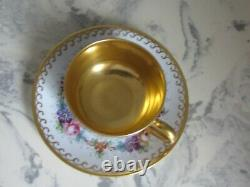 Antique Limoges Hand Painted Small Cup Saucer Signed by Artist