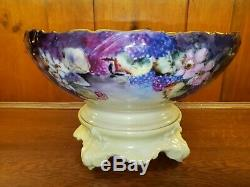 Antique Limoges Handpainted Punch Bowl, Plinth Stand, & 4 Punch Cups