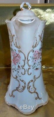 Antique Limoges Haviland & Co Chocolate Pot Hand Painted Gold Basket Weave 10