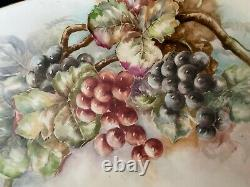 Antique Limoges Huge hand painted Porcelain Punch Bowl painted with Grapes
