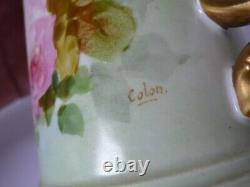 Antique Limoges J. P. L. Hand Painted Roses Porcelain Plate And Mug Signed