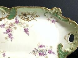 Antique Limoges LRL France Hand Painted Pate set Platter and 12 Plates