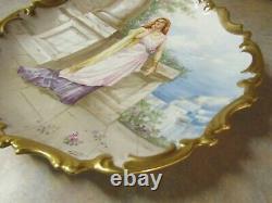 Antique Limoges Lady Portrait Hand Painted Charger 13 Artist Dubois