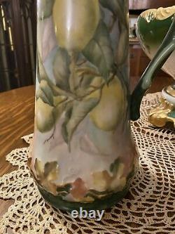 Antique Limoges Lemon Tankard Pitcher 15 Hand Painted T&V French