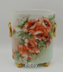 Antique Limoges Poppies Hand Painted Cache Pot Vase