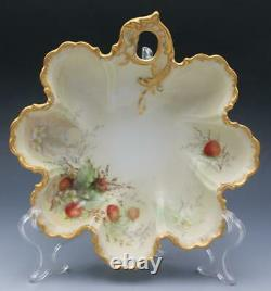 Antique Limoges Porcelain 4 Piece Berry Dish Set Hand Painted Strawberries