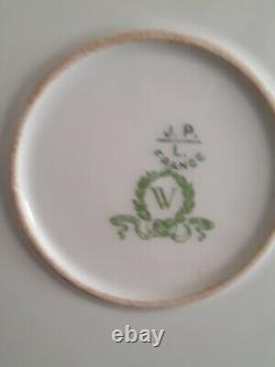 Antique Limoges Porcelain Hand Painted Floral Platter Pink Roses Gold Trim