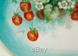 Antique Limoges Porcelain Platter Hand Painted Wild Strawberries Artist Signed