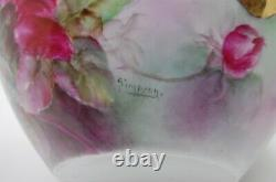 Antique Limoges Roses Hand Painted Porcelain Planter Jardiniere Vase