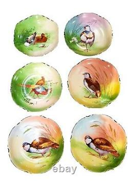 Antique Limoges Set Of 6 Game Bird Plaque Plate 10 Hand Painted Artist Signed