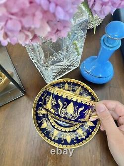 Antique Limoges Sevres Style French Hand Painted Tea Cup & Saucer Raised Gold