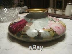 Antique Limoges T&V Large Squat Vase Hand Painted With Roses 12 x 5
