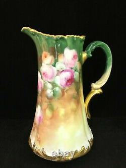 Antique Limoges T & V Pitcher Hand Painted Heavy Gold Signed Worth 10 1/2 Tall