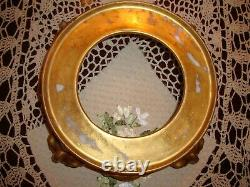 Antique Limoges T&v. Hand Painted Punch Bowl With Base, Berries &gold, Large 15