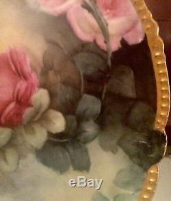 Antique Limoges T&v (tressemann & Vogt) Hand Painted Plate Charger Roses 12