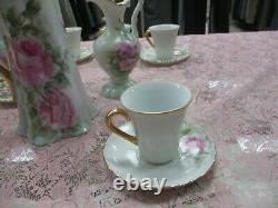 Antique Limoges Tea Set Hand Painted Pink Roses Gold Gilt Amazing! (cf)