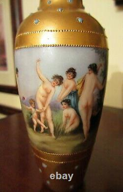 Antique Limoges Vase Hand Painted Nude Bathing Beauties Gold And Jewels