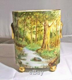 Antique Limoges, W Guerin Hand Painted Porcelain Cachepot, Landscape, A A Harvey