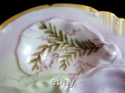 Antique Oyster Plate Hand Painted Signed & Dated 1896