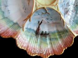 Antique Oyster Plate Hand-painted Ultra Charming