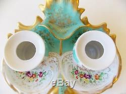 Antique Paris Porcelain Style Turquoise Double Inkwell Hand Painted Flowers