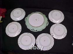 Antique Rc Racine Bavaria Porcelain HP Strawberry Cake Set Lg Plate & 6 Small