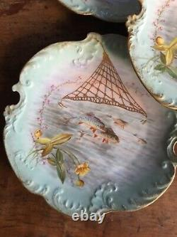 Antique Set Of Five Hand Painted Limoges Fish Plates Well Marked Artist Signed