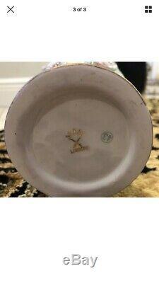 Antique Sevres Limoges 8 Gold HandPainted Pair Gorgeous Porcelain Floral Urns
