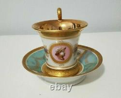 Antique Sevres Style French Porcelain Hand Painted Napoleonic Cup & Saucer