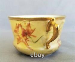 Antique Signed French Limoges Coiffe Bouillon Cup & Saucer Hand Painted France