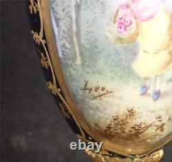 Antique Signed Hand Painted Limoges Porcelain Gilt Bronze Sevres Style Vase
