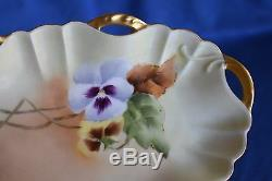 Antique Signed Purple Pansy Haviland D'Arcy's Hand Painted #1399 Limoges Tray