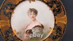 Antique Signed Soustre Haviland Limoges Hand Painted Cobalt Gold Cabinet Plate