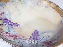 Antique T & V Limoge Handpainted Grapes Gold Trim Punch Bowl w Claw Pedestal