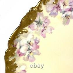 Antique T&V Limoges Cabinet Plate Large 12.5 Hand Painted Floral Yellow Pink